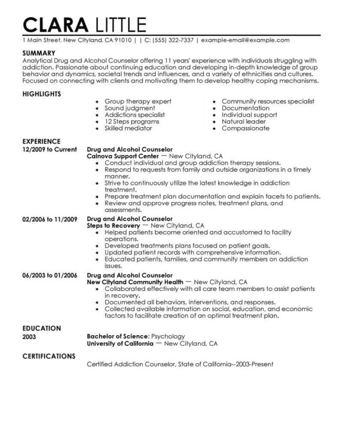 best drug and alcohol counselor resume example livecareer mental health therapist social Resume Residential Counselor Resume