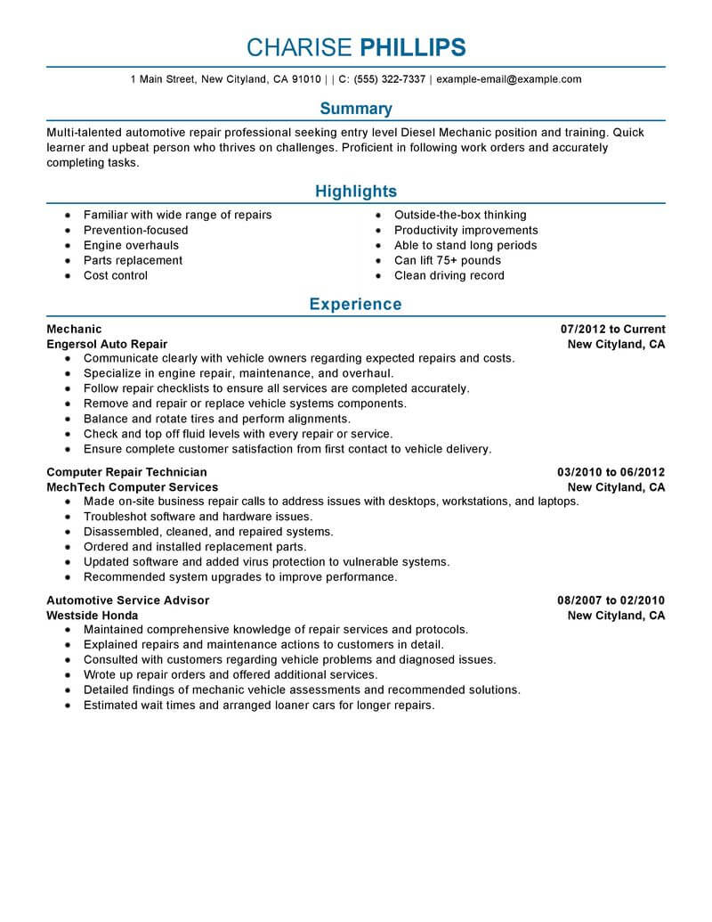 best entry level mechanic resume example livecareer profile examples installation repair Resume Entry Level Resume Profile Examples