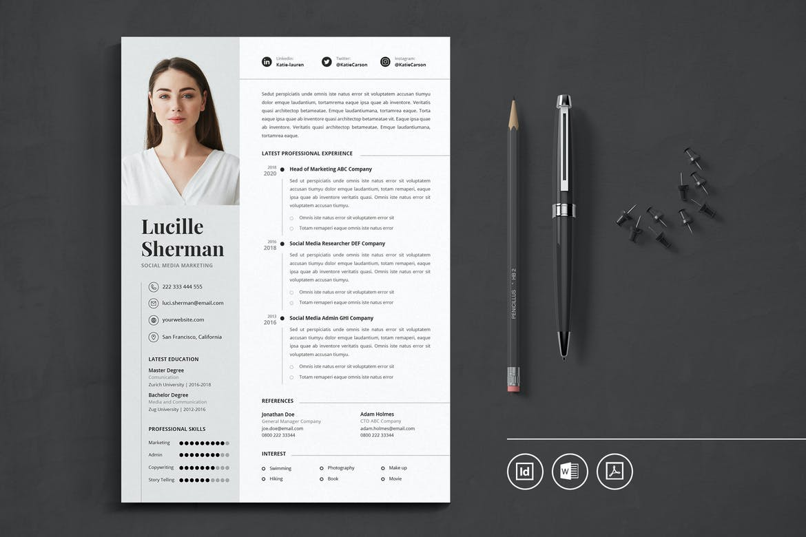 best indesign resume templates free cv theme professional template letter of job Resume Professional Resume Cv Template