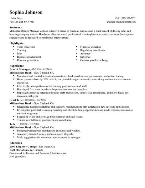 best manager resume example livecareer bank sample accounting finance standard 463x600 Resume Bank Manager Resume Sample