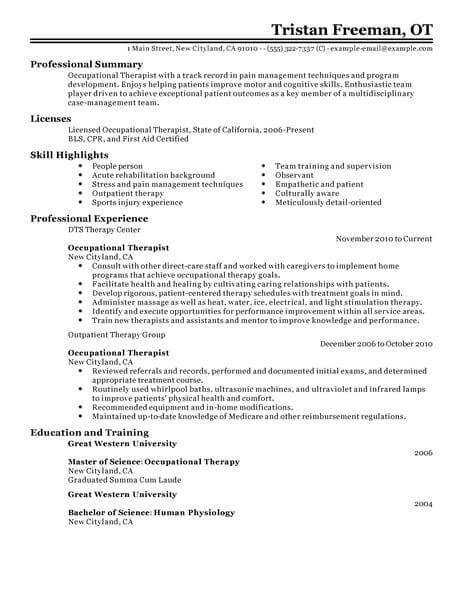 best occupational therapist resume example livecareer therapy examples healthcare classic Resume Occupational Therapy Resume Examples
