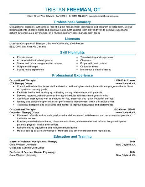 best occupational therapist resume example livecareer therapy examples healthcare Resume Occupational Therapy Resume Examples