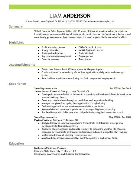 best representative resume example livecareer medical rep examples acounting finance Resume Medical Sales Rep Resume Examples