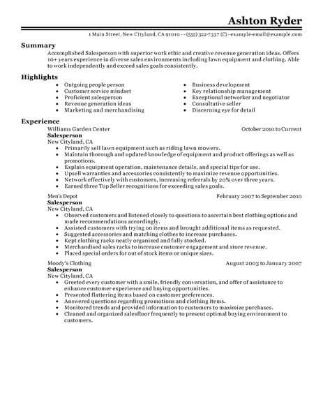 best retail salesperson resume example livecareer skills to put on for classic 463x600 Resume Skills To Put On Resume For Retail