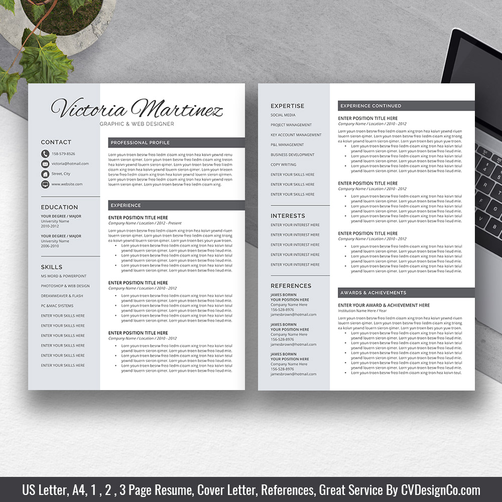 best selling office word resume cv templates cover letter references for digital instant Resume Two Page Resume Template Word