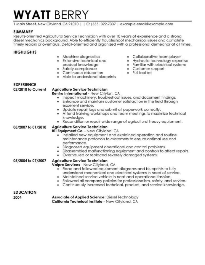 best service technician resume example livecareer examples agriculture environment Resume Service Technician Resume Examples