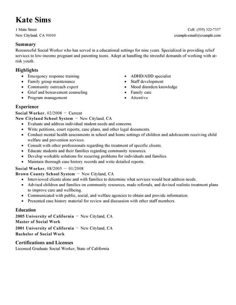 best social worker resume example livecareer work examples services standard college Resume Social Work Resume Examples