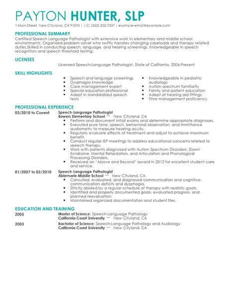best speech language pathologist resume example livecareer examples police officer Resume Sample Resume Speech Language Pathologist
