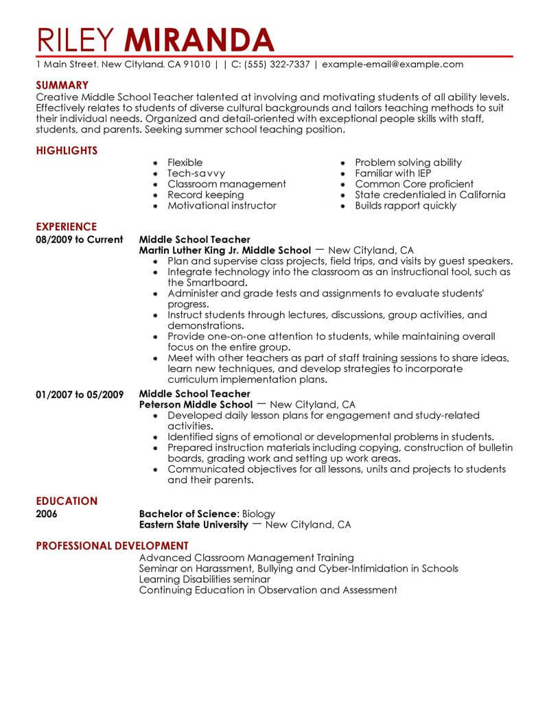 best summer teacher resume example livecareer professional education contemporary Resume Professional Teacher Resume