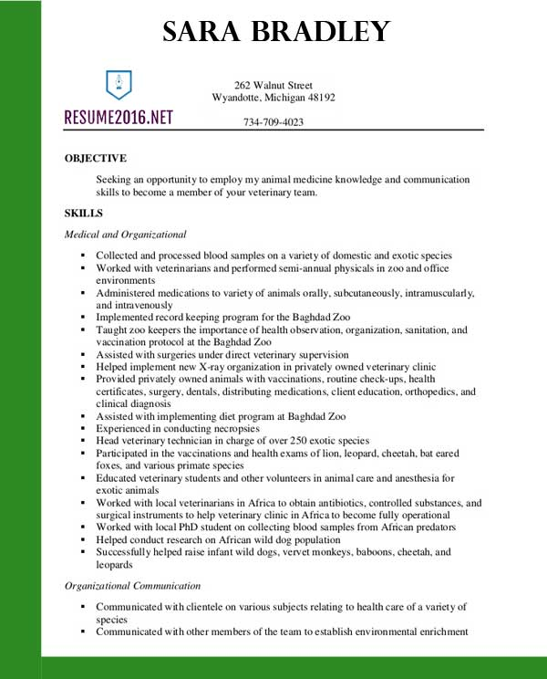 best veterinary assistant resume templates in template sample resignation letter for Resume Veterinary Assistant Resume