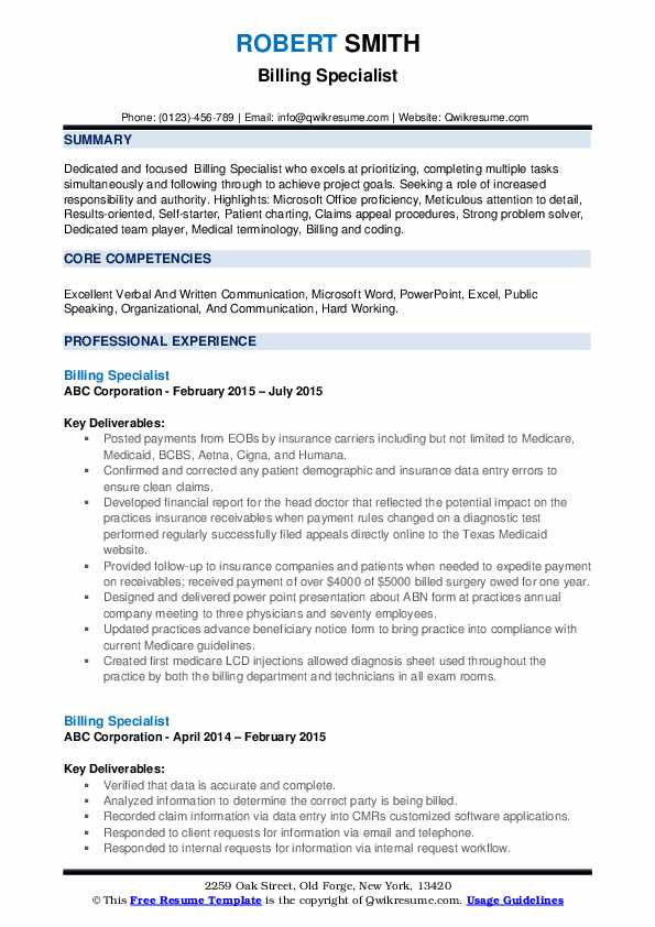 billing specialist resume samples qwikresume medical pdf pictorial templates entry level Resume Medical Billing Specialist Resume