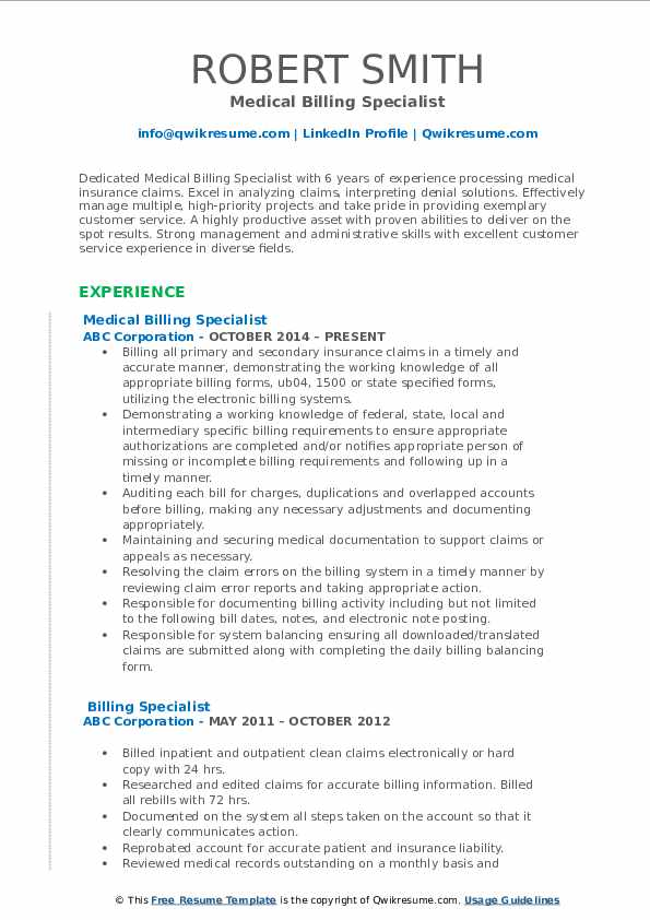billing specialist resume samples qwikresume medical pdf telecommunications entry level Resume Medical Billing Specialist Resume