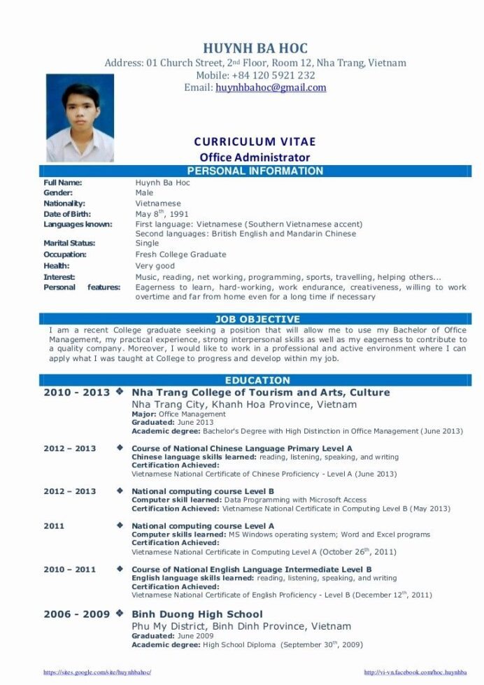 biotechnology resume example fresh graduates unique cv sample for graduate of office Resume Resume Template For Fresh Graduate Without Experience