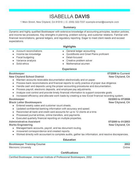 bookkeeper resume examples accounting finance livecareer bookkeeping professional job Resume Bookkeeper Job Description For Resume