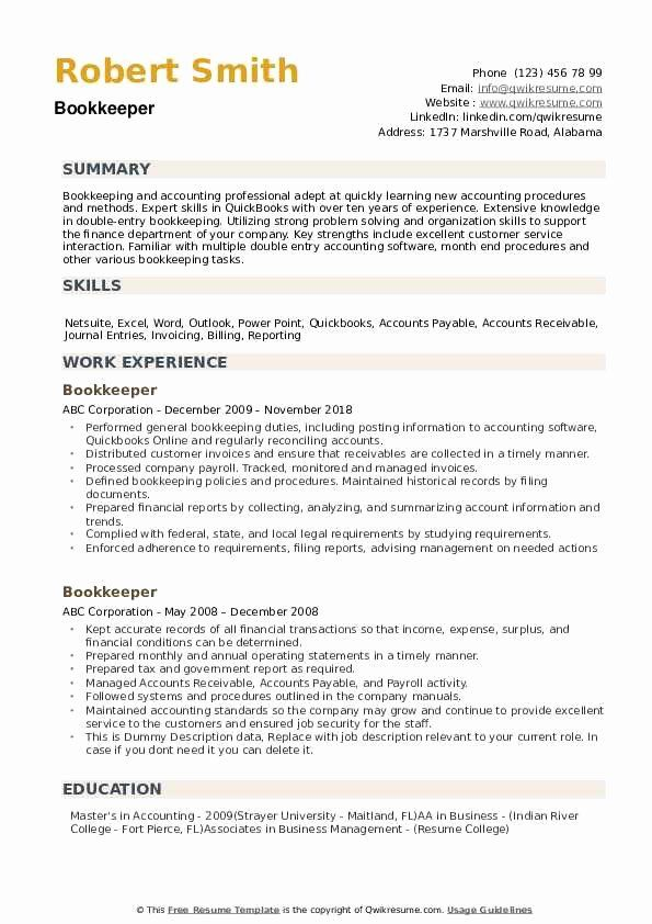 bookkeeper resume with quickbooks experience awesome samples job good examples Resume Bookkeeper Job Description For Resume