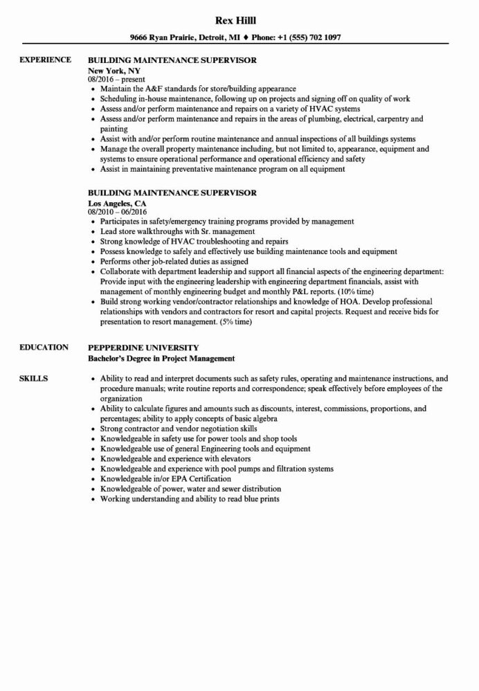 building maintenance worker resume beautiful supervisor samples job planner examples Resume Maintenance Planner Resume Examples
