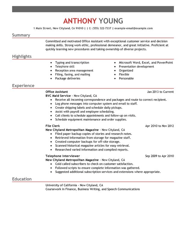 by office skills on resume format experience templates word example of professional for Resume Office Experience Resume