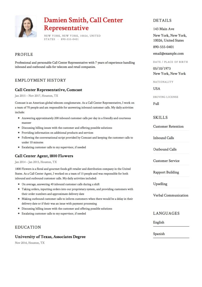 call center resume guide free downloads rep representative example about yourself Resume Call Center Rep Resume