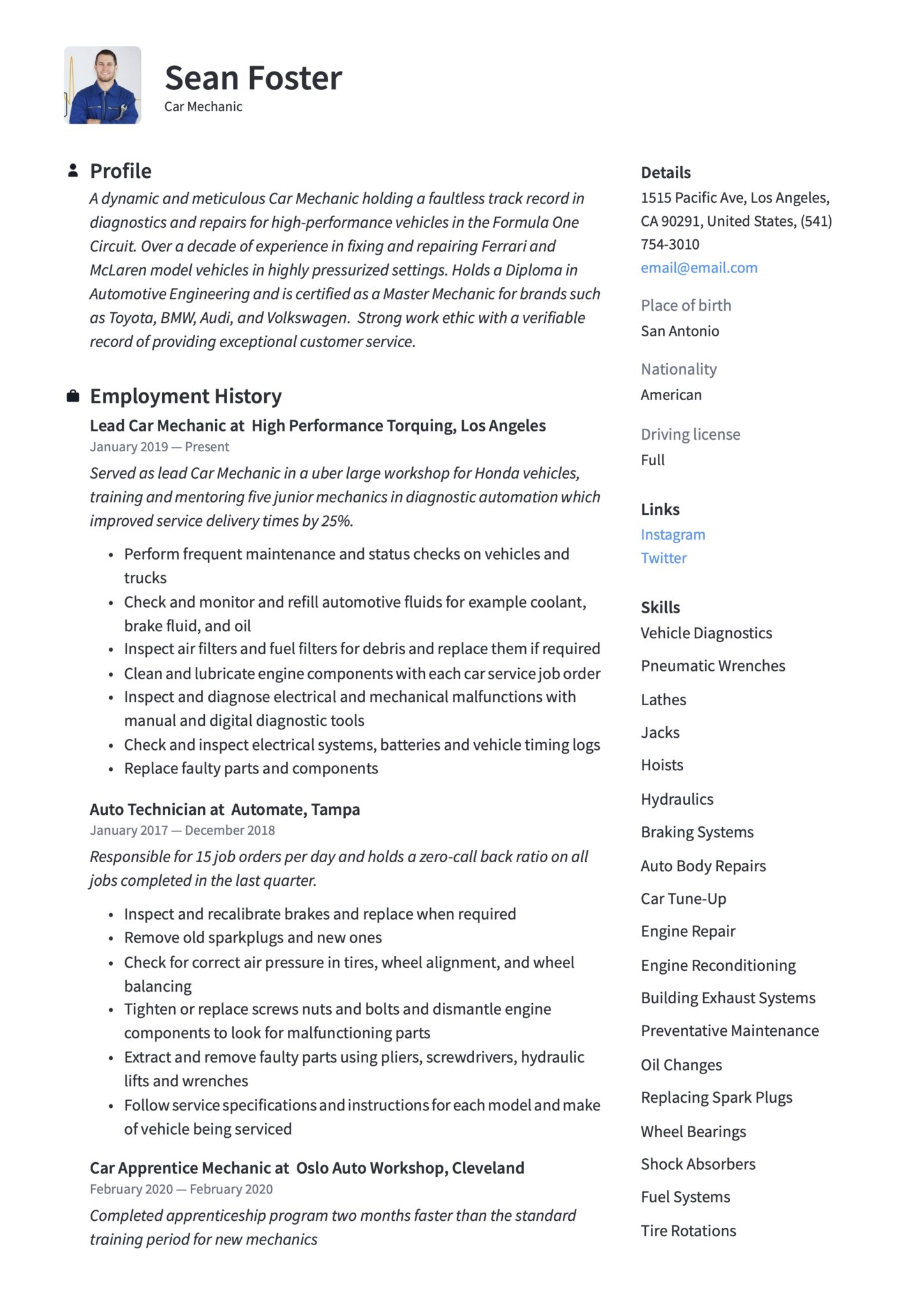 car mechanic resume guide examples iti motor format scaled primavera project planner Resume Iti Motor Mechanic Resume Format