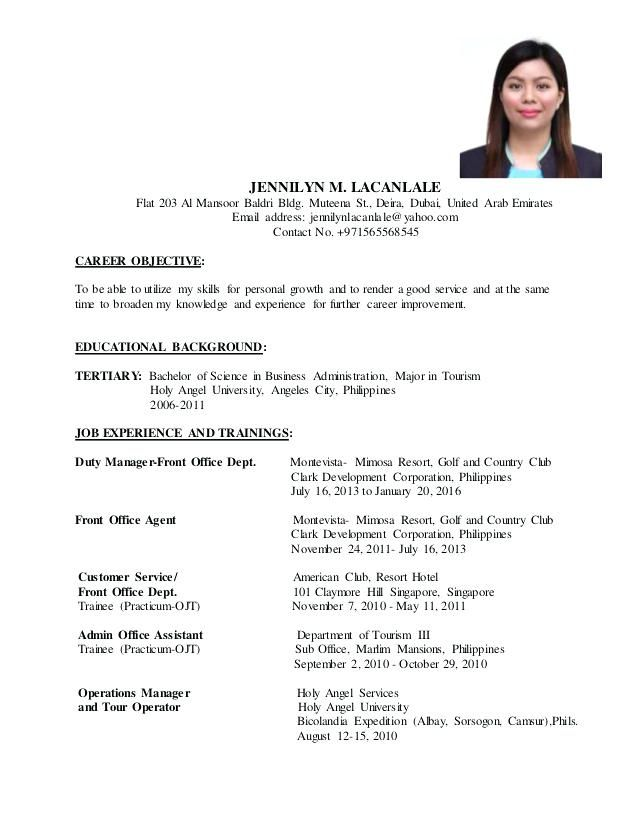 career objective ojt pelosleclaire resume format student sample for tourism students Resume Sample Resume Objective For Tourism Students