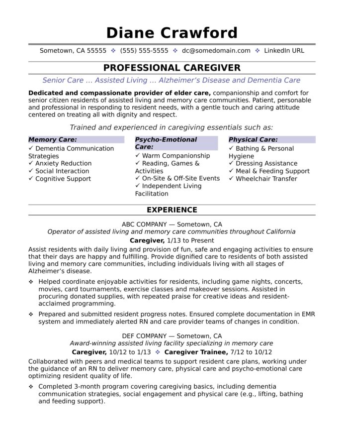 caregiver resume sample monster cna samples experience barista golf recruiting template Resume Cna Caregiver Resume Samples