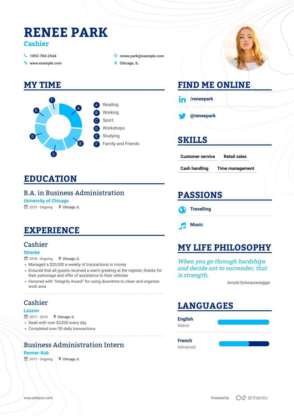 cashier resume example for enhancv summary sample school superintendent gecd mit and Resume Resume Summary For Cashier