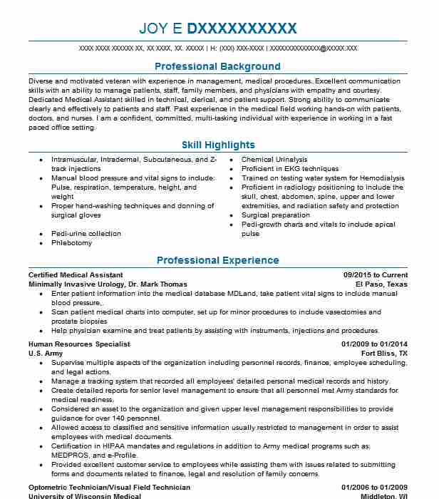 certified medical assistant resume example livecareer entry level write general about Resume Entry Level Medical Assistant Resume