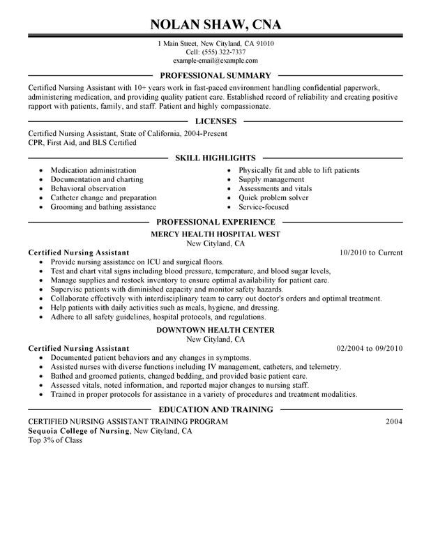 check out this nursing aide assistant resume example certified objective and healthcare Resume Certified Nursing Assistant Resume Objective