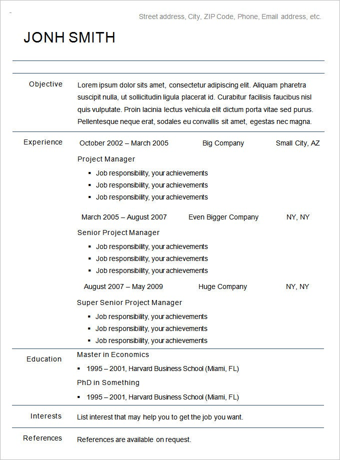 chronological resume template free samples examples format premium templates and sample Resume Resume Format And Examples