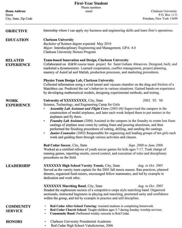 clarkson university senior computer science resume sample best job student samples first Resume First Year College Student Resume