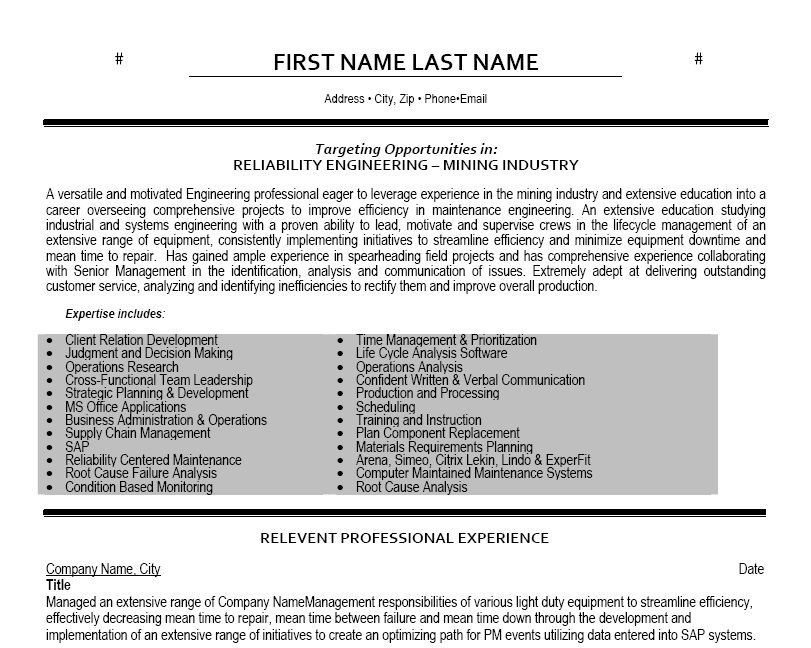 click here to this reliability engineer resume template http resumetempla executive Resume Resume Of Solar Engineer