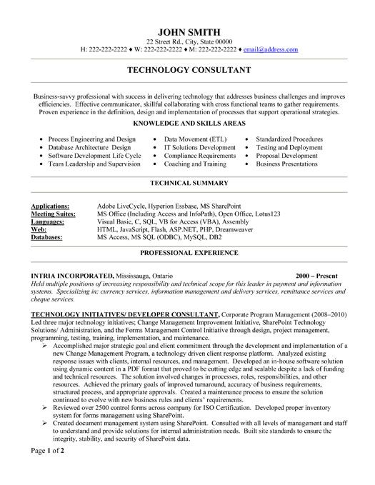 click here to this technology consultant resume template http resumetemplates101 Resume Skills For Consulting Resume