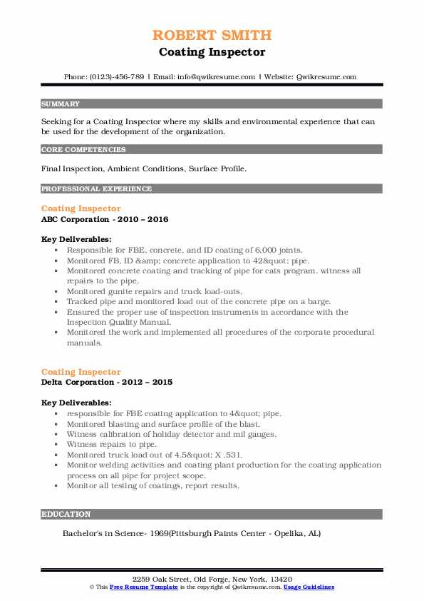 coating inspector resume samples qwikresume pdf entertainment examples classroom aide Resume Coating Inspector Resume
