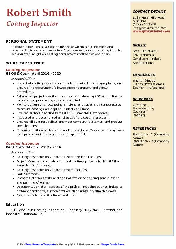 coating inspector resume samples qwikresume pdf entertainment examples records management Resume Coating Inspector Resume