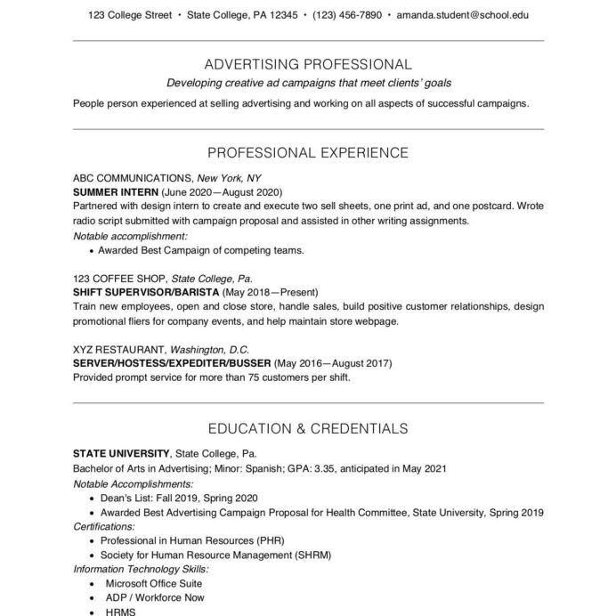 college student resume example and writing tips recent graduate 2062302res commercial Resume Recent Graduate Resume 2020