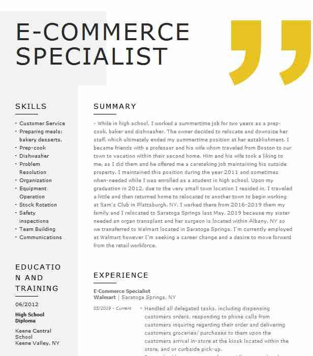commerce specialist resume example sporting goods chicago perfect cover letter Resume E Commerce Specialist Resume