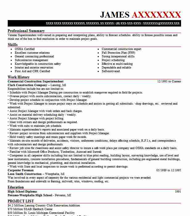 commercial construction superintendent resume example livecareer sample busser food Resume Construction Superintendent Resume Sample