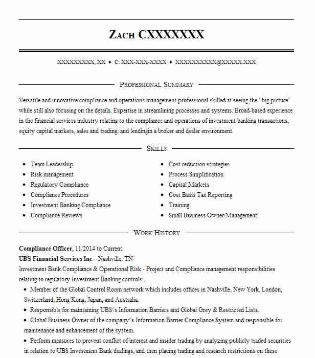 compliance officer resume example resumes livecareer template professional letter Resume Compliance Officer Resume Template