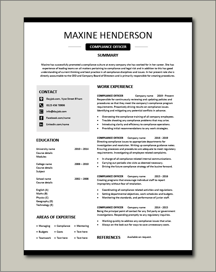 compliance officer resume objective sample example regulations job description policy Resume Compliance Officer Resume Template