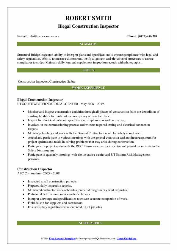 construction inspector resume samples qwikresume specs application pdf don goodman Resume Specs Resume Application
