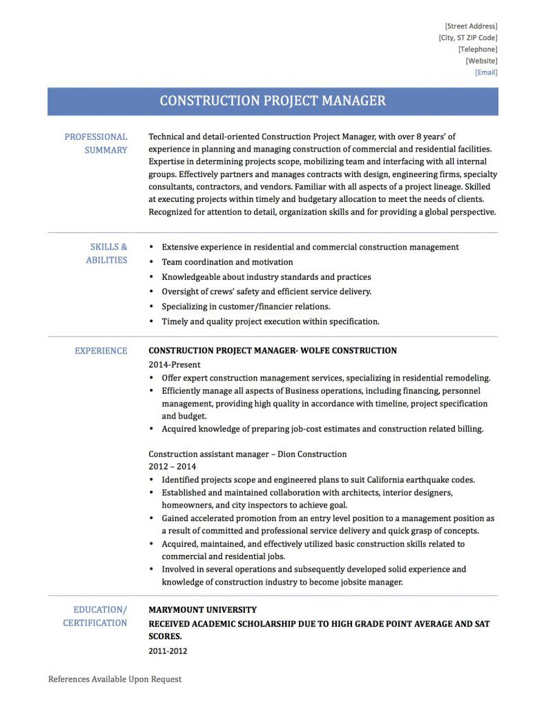 construction project manager by resume builders medium residential g3xruggk3ys5mm3y free Resume Residential Construction Project Manager Resume
