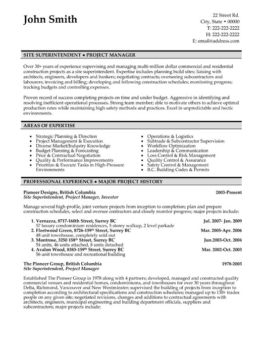 construction site superintendent resume sample template electrical professional entry Resume Electrical Superintendent Resume