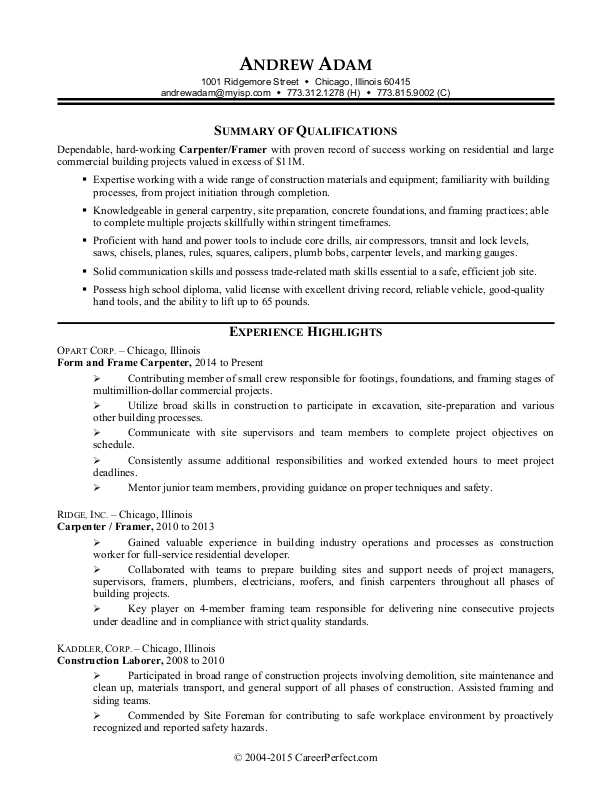 construction worker resume sample monster industrial format call center qualifications Resume Industrial Resume Format