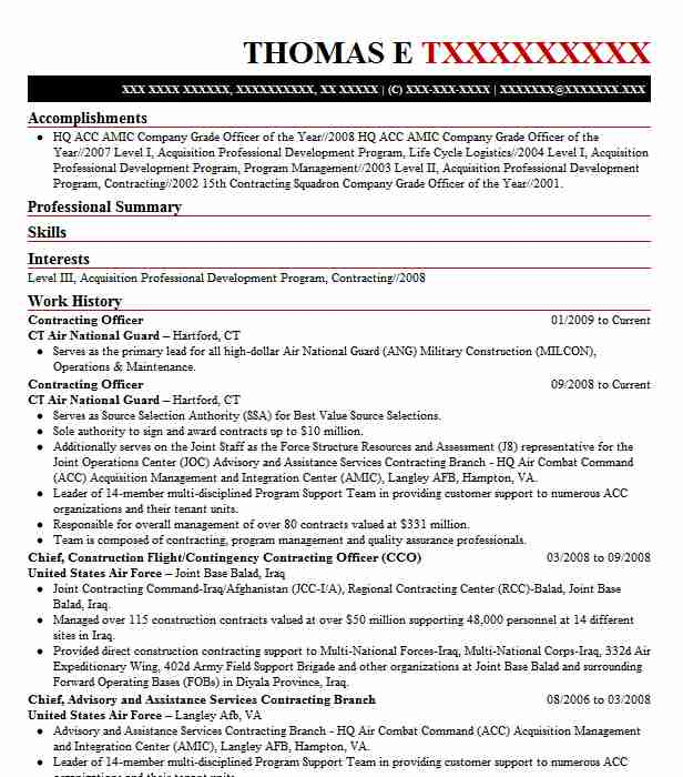 contracting officer resume example resumes livecareer federal contractor standard font Resume Federal Contractor Resume