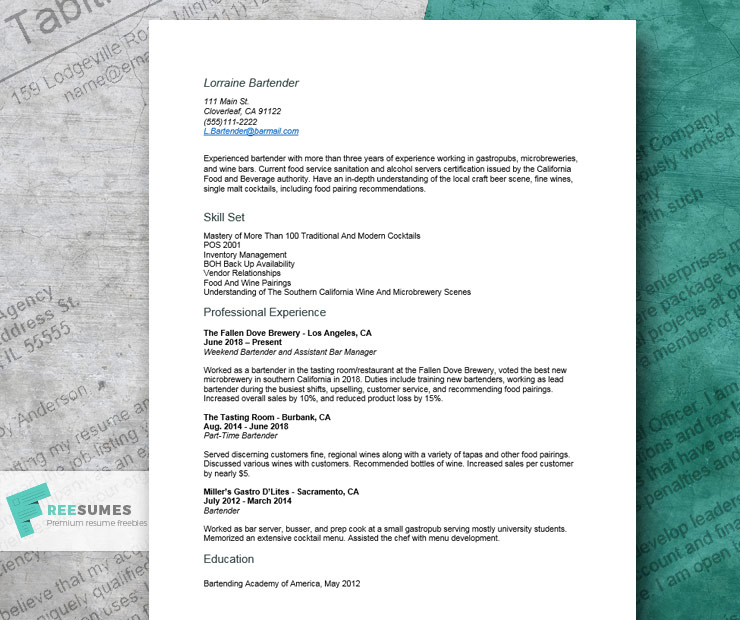 cool resume example for bartenders freesumes free bartender templates quality control Resume Free Bartender Resume Templates