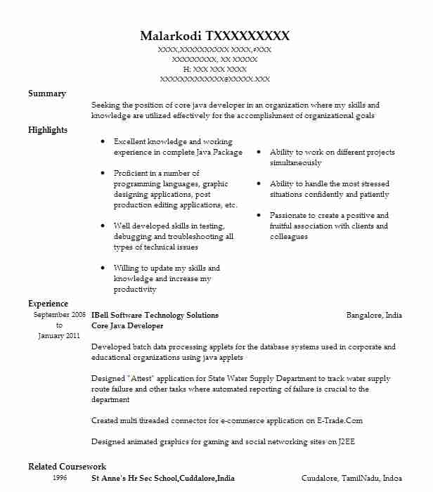 core developer resume example resumes livecareer projects for high school student lead Resume Java Projects For Resume