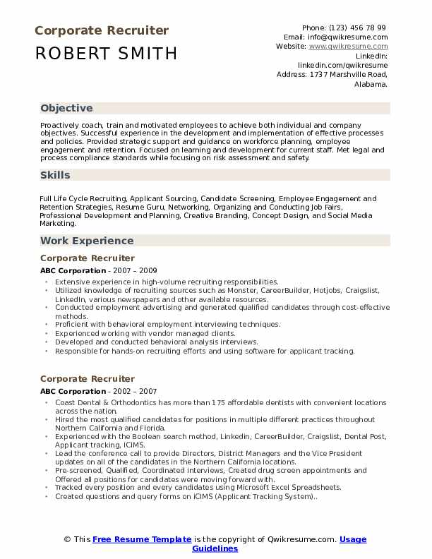 corporate recruiter resume samples qwikresume for job pdf contractor examples Resume Resume For Corporate Job