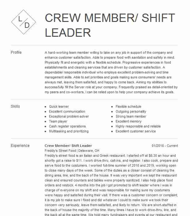 crew member shift leader resume example dunkin donuts maynard examples for physical Resume Dunkin Donuts Crew Member Resume