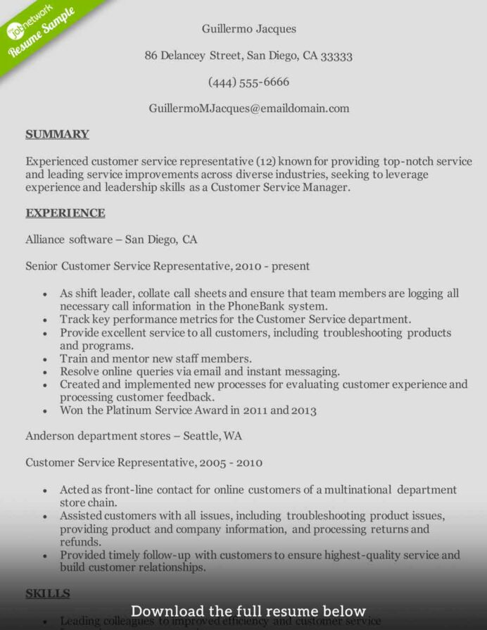 customer service resume to write the perfect one examples representative skills midlevel Resume Customer Service Representative Skills Resume