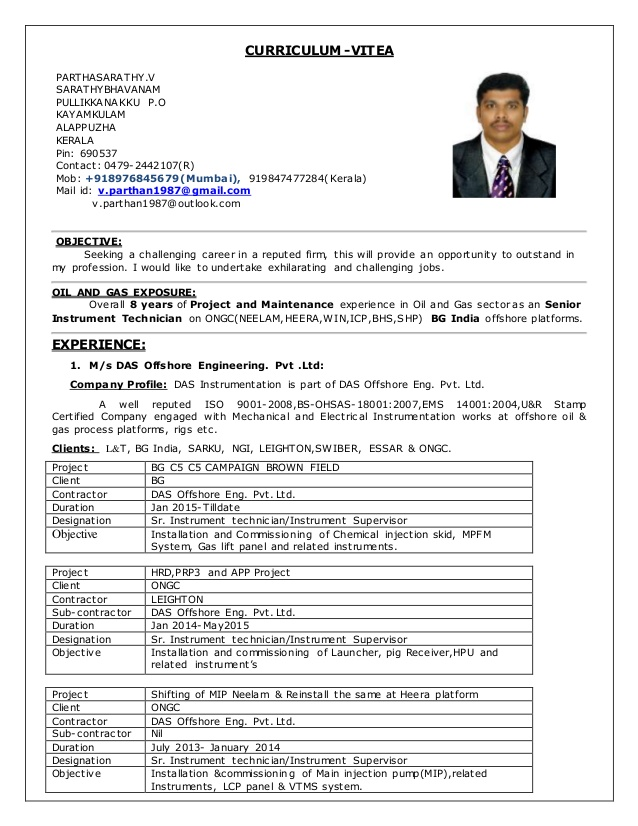 cv for sr instrument technician in years exp oil and gas electrical resume best type of Resume Oil And Gas Electrical Technician Resume